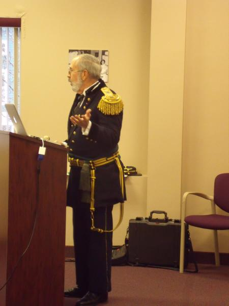 photograph of speaker in Civil War costume